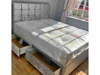 SAME DAY DROP GURANTY CRUSHED DIVAN BED WITH MATTRESS AVAILABLE IN SINGLE,DOUBLE & KING SIZE