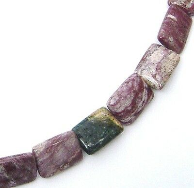 - 15.5 LARGE NATURAL Mixed Colors Ocean Jasper Flat Rectangle Beads 15x20mm K2784