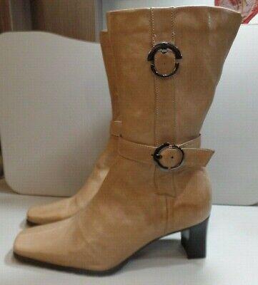 khrio italian leather boots, creamy beige, strap n buckle detail, side zip, UK 4