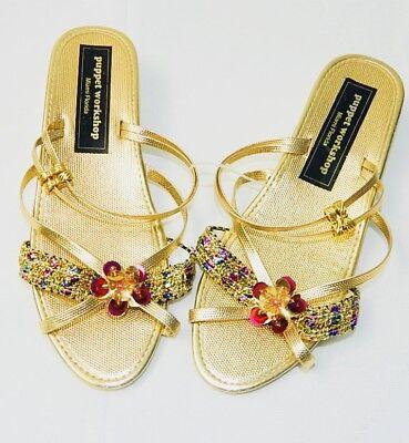 GIRLS - WEDDING - DRESS UP - PARTY - GOLD HEEL SHOES Sz Toddler 7 - Girls 3