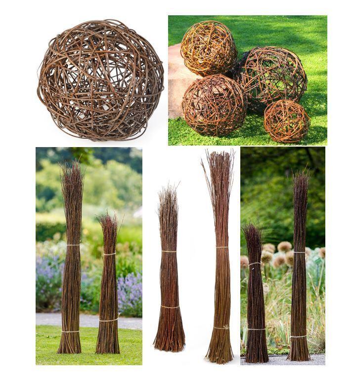 Gartendeko WEIDENKUGELN Garten Objekte Weidenbüschel Dekoration Weidengeflecht