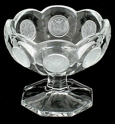 VINTAGE FOSTORIA COIN DOT PATTERN COMPOTE EAGLE & TORCH SEALS CRYSTAL CLEAR