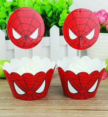 Spiderman Cupcake Wrappers (48 Pcs, 24 Spiderman Cupcake Wrappers & 24 Toppers Kids Birthday Party)