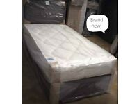 Single- Double- King Size Divan Bed and Mattress- New Divan Base with Headboard and Mattress
