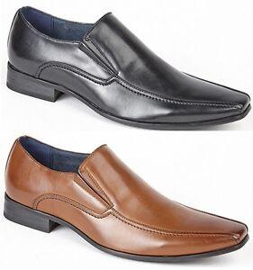 Hombre-Elegante-Zapatos-De-Boda-Piel-Sintetica-Formal-Sin-Cordones