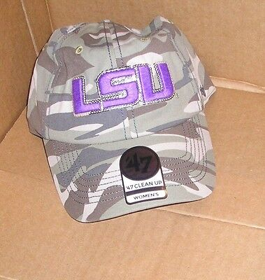 (NEW NCAA LSU Tigers Faded Camo Sparkle Cleanup Hat Cap Women Ladies NEW NWT)