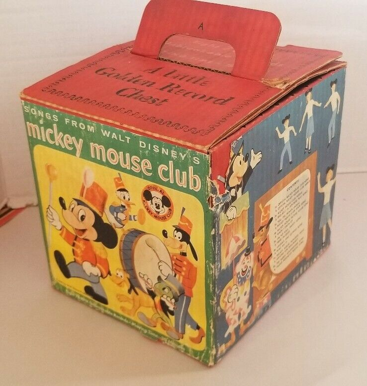 """Rare 1955 Mickey Mouse Club """"A Little Golden Record Chest with 8 - 78 RPM"""