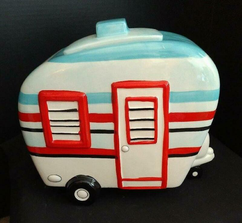 Happy Camper Trailer Camping Ceramic Cookie Jar Red White Blue Patriotic Colors