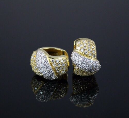 $9500 Rare 14k Yellow White Gold 3.50ct Pave Round Diamonds Huggie Hoop Earrings