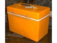 Original Vintage Orange VW Camper Van Picnic Cool Box With Penguin Logo