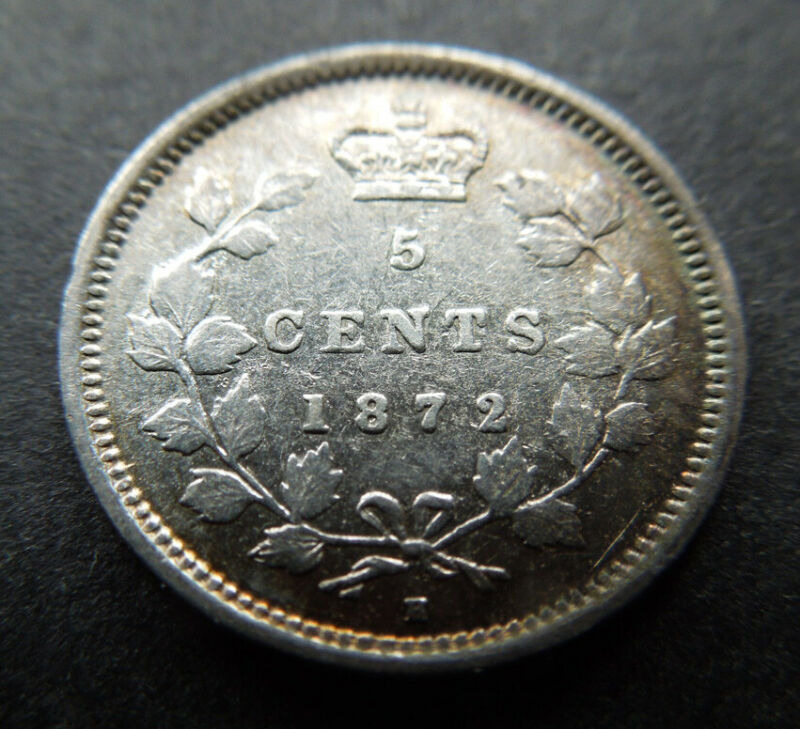 Canada 1872-H Five 5 Cents Queen Victoria Silver Coin
