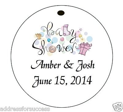 BABY SHOWER* 24 Personalized Hanging Party Favor Round Gift - Baby Shower Hang Tags