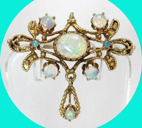 "Antique 2.35CT natural opal filigree pin drop pendant 14K YG 1.25"" x 1.5"""