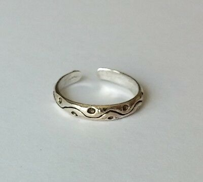 925 Sterling Silver-Yin Yang Style- Dot & Wavy Line Adjustable Toe Ring New