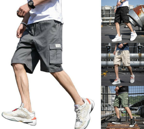 Men Fashion Casual Cargo Shorts Pants Multi Pockets Chino Summer Beach Trousers