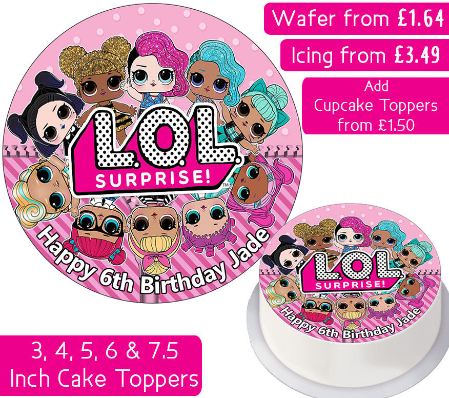LOL SURPRISE GANG EDIBLE WAFER & ICING PERSONALISED CAKE TOPPERS DECORATION KIDS