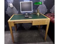 S A L E Beautiful Compact Beech with Green Leather Topped Office Desk