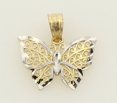 14K Yellow & White Two 2 Tone Gold Very Small Light Thin Butterfly Charm Pendant