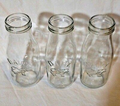 Vintage RETRO Dairy Glass Bottles Embossed Cow Decorative Jars SHABBY CHIC 10 0z](Milk Bottles Bulk)