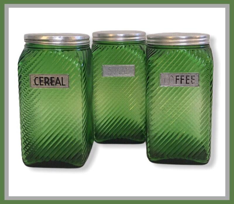 Vtg Owens Green Depression Glass Rib Hoosier Jars-SET OF 3-Cereal/Sugar/Coffee