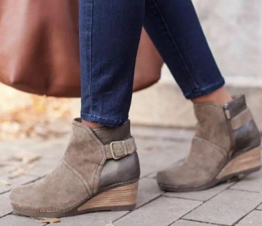 Women's Dansko Boot Bootie Shirley Wedge Suede Ankle Zipper