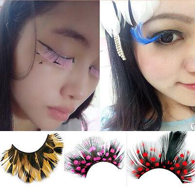 Crazy False Eyelashes Exaggeration Feather Cosmetic Party Colorful Eye Lashes - Crazy Lashes