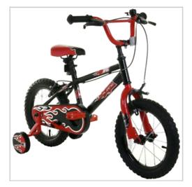 "14"" boys flame bmx style bike with stabilisers"