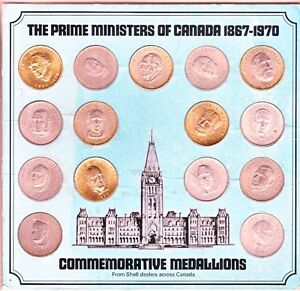 Prime Ministers of Canada medallion/ coin set