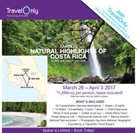 Join TravelOnly in Costa Rica March 2017 - Direct from Montreal