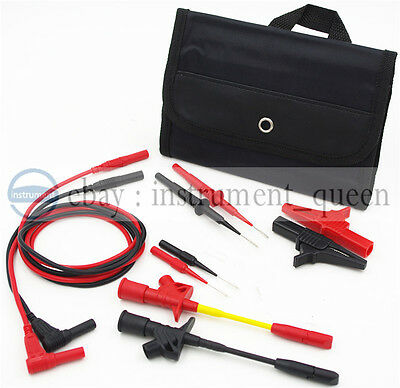 Insulation 4mm Banana Test Lead Wire Kit Pierce Spring Test Probe Crocodile Clip