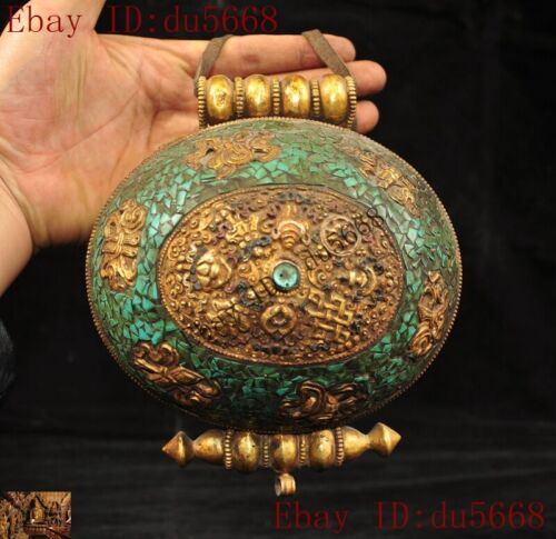 Tibet Bronze 24k gold Gilt inlay turquoise eight treasures symbol Gaudencio box