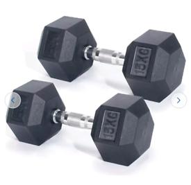 Men's Health Hex Rubber Dumbbell Set 2 x 15kg