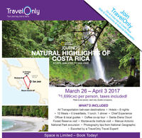 Charlottetown to Costa Rica Inclusive Adventure with TravelOnly