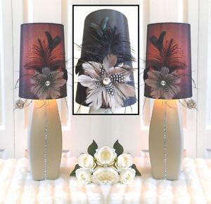 "Stunning! 2 Quality Ceramic Tri-light Black Feather Shades, H22"""