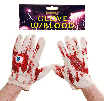HALLOWEEN FANCY DRESS PAIR OF GLOVES WITH BLOOD, EYEBALL AND CUT - BLOODY GLOVE - Halloween Fancy Dress Pairs