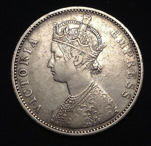 1877 Empress Victoria British India 1 Rupee silver coin VF20