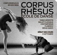 Cours de danse contemporaine, tango, break dance et ballet