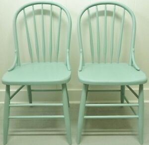 2 Antique BOW BACK Chairs ROBINS EGG BLUE Vintage