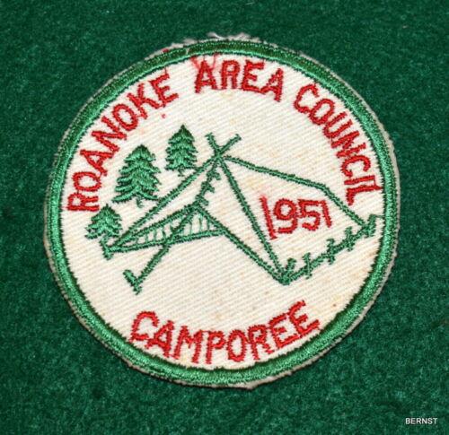 BOY SCOUT COUNCIL ACTIVITY PATCH - 1951 ROANOKE AREA COUNCIL CAMPOREE - CUT EDGE