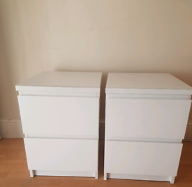 White Ikea Malm Bedside Table x 2 with White Glass Tops