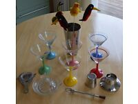 Cocktail Glasses with Shaker and other Accessories