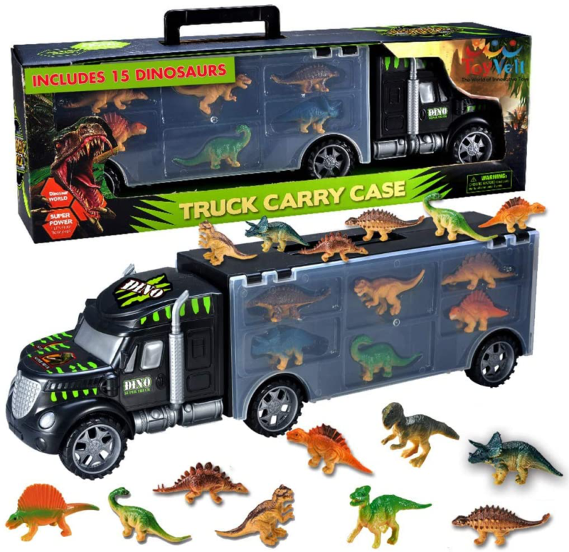 Tyrannosaurus Rex Friction Powered Car Trailer with Sound and Light BIMONK Dinosaur Truck Toys Brachiosaurus Toys Car Toys Carrier Gifts for 3 4 5 6 7 8 Years Old Kids Boys and Girls Triceratops