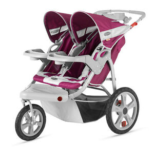 InStep Safari Swivel Double Baby Jogging Stroller - Wine / Gray | AR291