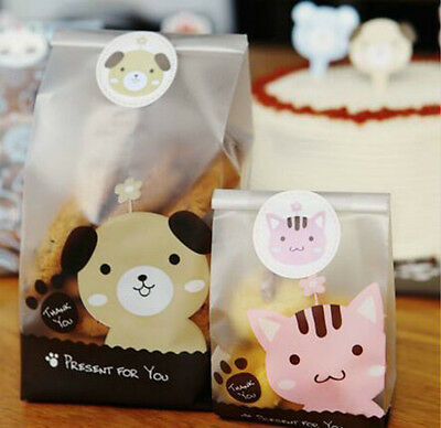 - 50Pcs Cute Cartoon Plastic Gift Bags Bakery Biscuit Cookie Candy DIY Cake Bags