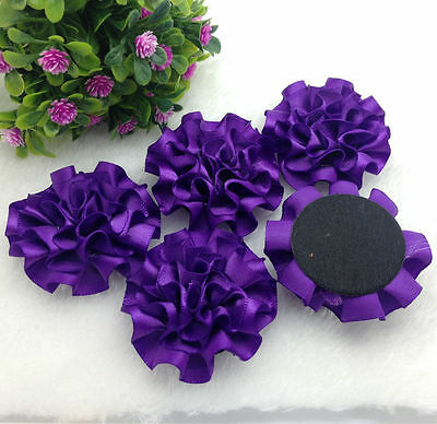 Dark Purple Wedding (5pcs Dark purple satin ribbon big Peony Flower)