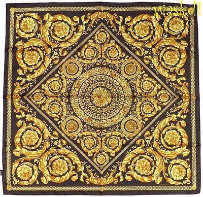 "VERSACE black Baroque MEDUSA floral Wreath Scroll 35""-square Silk scarf NWT Auth"