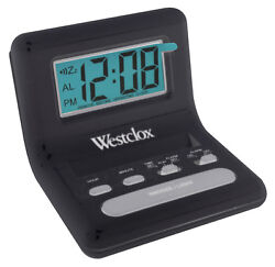 Westclox  0.8 in. L Black  LCD  Travel Alarm Clock  Batteries Required