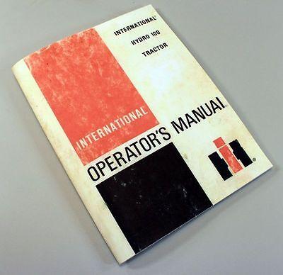 International Hydro 100 Tractor Owners Operators Manual Maintenance Operation Ih
