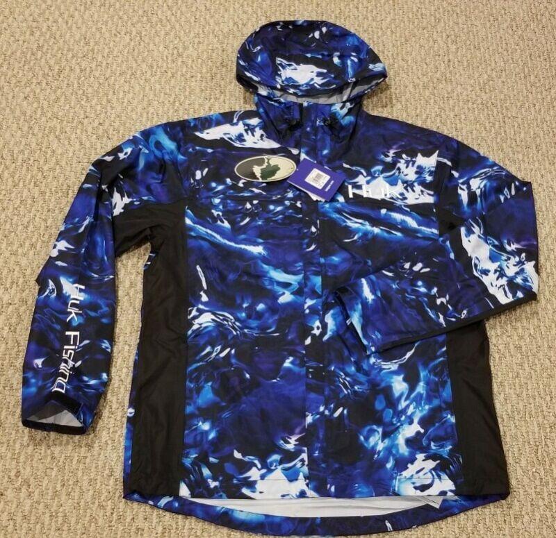 New! Huk Blue Camo Packable Rain Jacket Medium Mossy Oak
