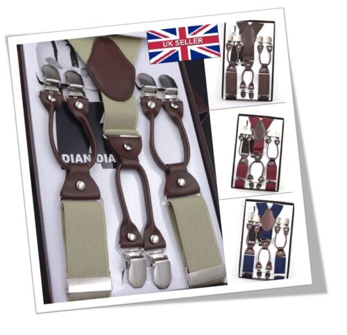 Uk 35mm 6 Clips Plain Men's Braces Suspenders Heavy Duty Adjustable Gift C084